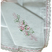 Box of Two Hankies Pink Crochet Trim