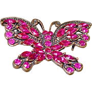 Ruby Red Butterfly Rhinestone Pin Brooch
