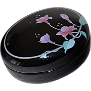 SALE Porcelain Trinket Box Black with Orchids