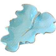 Large Cemar Pottery Turquoise Leaf Dish