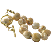Gold Freshwater Pearl Knotted Bracelet