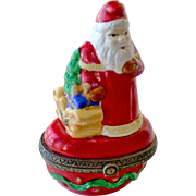 SALE Santa Claus Trinket Box Candy Apple Red