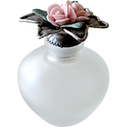Scent or Perfume Bottle Jar Porcelain Roses