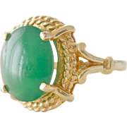 SOLD Chrysoprase Ring 14K Gold Gorgeous Setting