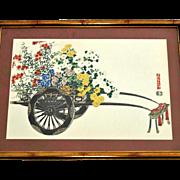 Japanese Print Flower Cart