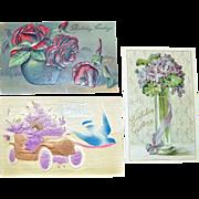Postcards Flowers German Embossed