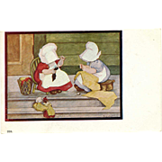 Postcard Sunbonnet Girls Corbett Mending Day