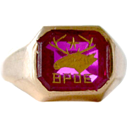Mens Ring Elks 10kt Gold Ruby