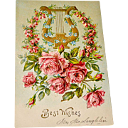 Postcard Roses Lyre Embossed
