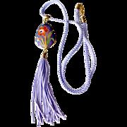Necklace Cloisonne Enamel Pendant on Silk