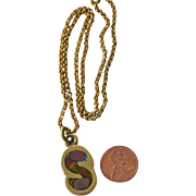 SALE Necklace Brass with Initial S Pendant