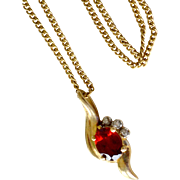 Garnet and Diamond Necklace 14k Pendant and Chain