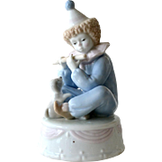 Music Box Boy Clown and Puppy Porcelain