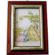Framed Silk Print Mother and Children