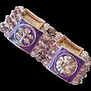 Bracelet Burgundy Mauve Pink on Copper tone