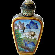 Snuff Bottle Cloisonne Crane