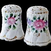 Vintage Salt Pepper Shakers Roses Violets