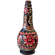 Hand Painted Bottle Black Lacquer on Wood