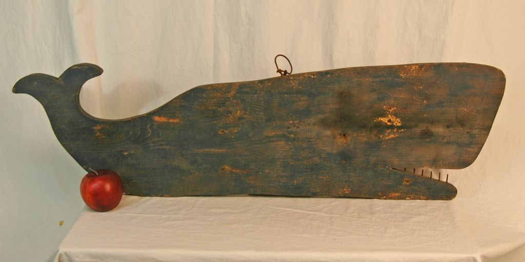Late 18th Century Painted Wooden Whale Trade Sign From