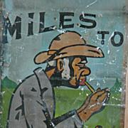 "REDUCED Vintage Black Memorabilia Painted Tin Roadside Sign - ""Suitcase Sam"""