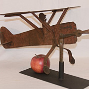 SALE 1920's Sheet Metal Airplane Weathervane