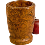 Large Ash Burl Mortar with Pinch-Foot Base
