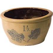Early Stoneware Milkpan with Leaf Decoration
