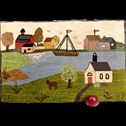 19th Century Harbor Scene Hooked Rug