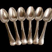 Six Thomas Yates Pewter Tablespoons