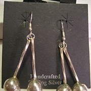 SALE Sterling Silver Vintage Dangling Ball Earrings