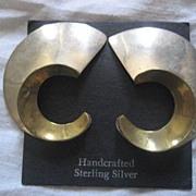 SALE Taxco Sterling Silver Geometric Two Tone Earrings