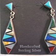 SALE Sterling Silver & Inlay Handcrafted Earrings