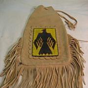 Loom Beaded Thunderbird Leather Pipe Bag
