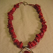Sterling Silver & Coral Necklace and Pendant