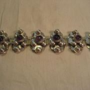 Sterling Silver & Amethyst Vintage Bracelet