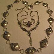 Sterling Silver Storyteller Concho & Necklace & Bracelet