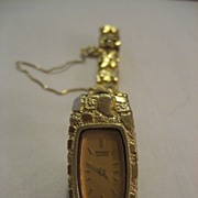 SALE 14 Karat Gold Nugget Seiko Watch