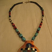 SALE Santa Domingo Turquoise Inlay Shell Necklace