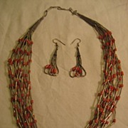 Coral & Liquid Sterling Silver Necklace and Earrings