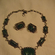 Sterling Silver & Green Carved Stone Vintage Necklace + Earrings