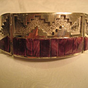 Sterling Silver & Purple Spiny Oyster Inlay Navajo Bracelet