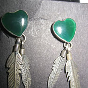 Sterling Silver & Heart Vintage Earrings