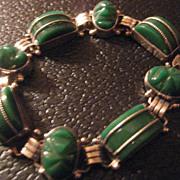 Sterling Silver & Carved Stone Bracelet
