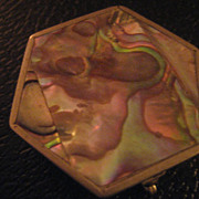 Nickel Silver & Abalone Vintage Pill Box