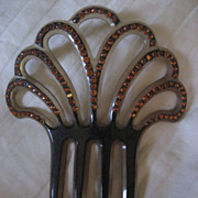 Celluloid Hair Comb With Rhinestones