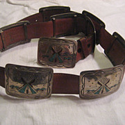 Sterling Silver & Inlay Vintage Concho Belt