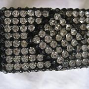 Rhinestone & Vintage Plastic Hinge Bracelet