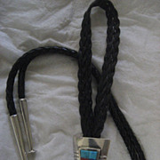 Sterling Silver Inlay Vintage Bolo Tie