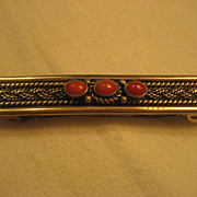 Sterling Silver & Coral Vintage Hair Pin