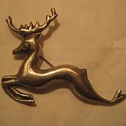 Sterling & Turquoise Vintage Reindeer Pin